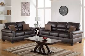 Bonded Leather Loveseat Poundex F7878 2 Pcs Espresso Bonded Leather Sofa Loveseat Set
