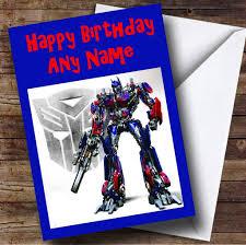 optimus prime birthday optimus prime transformers personalised birthday card the card zoo