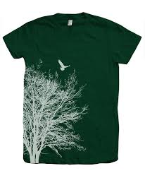 Tree Shirt Tree T Shirt Crew Neck Screen Print American
