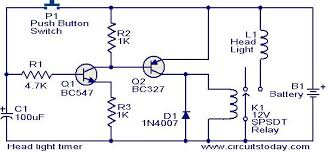 head light timer circuit electronic circuits and diagram