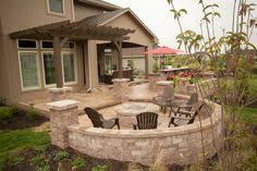 Backyard Brick Patio Design With Grill Station Seating Wall And by Large Paver Patio Design With Grill Station U0026 Seat Walls