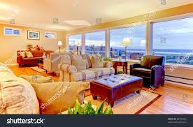 luxury home with large living room and open floor plan stock photo