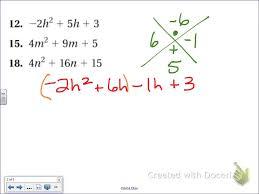 common core math factoring trinomials when