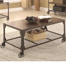 End Table With Shelves by Cocktail Table With Shelf And Castors Coffee Table Coaster 703908