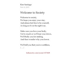 welcome to society by santiago hello poetry