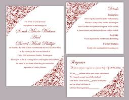Wedding Invitation Samples Diy Wedding Invitation Template Set Editable Word File Instant