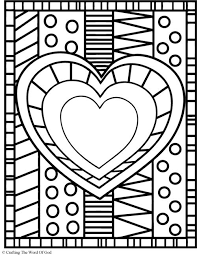heart color pages mosaic heart coloring printable heart