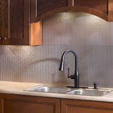 Stainless Steel Kitchen Backsplashes Kitchen Fasade Backsplash And Wooden Kitchen Cabinets Plus