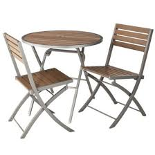 Folding Patio Bistro Set Threshold Bryant 3 Piece Faux Wood Patio Bistro Furniture Set