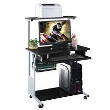 High End Computer Desk Desk Computer Costwayuter Desk W Printer Shelf Stand Rolling