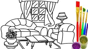 how to draw living room coloring pages drawing learn colors