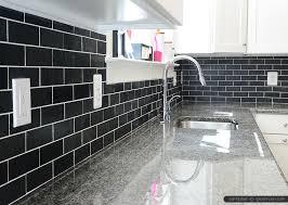 Superb Glass Subway Tile Kitchen Backsplash  Black Slate - Black glass subway tile backsplash
