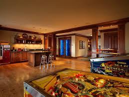 basement game room basement craftsman with wood floors game room
