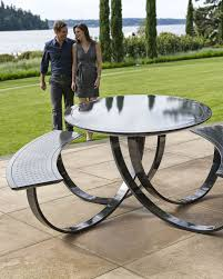 Outdoor Metal Tables And Chairs Fun Exterior Metal Picnic Tables And Decor U2014 Home Ideas Collection