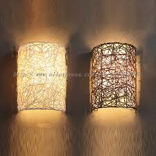 Bedroom Wall Lighting Fixtures Modern Handmade Rattan Wall Sconces L Brown White Color Bedroom