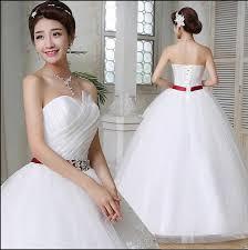 wedding dresses 2016 red belt white plus size lace wedding dress