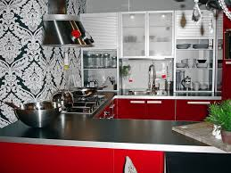 fascinating red black white kitchen decor with creative wall art