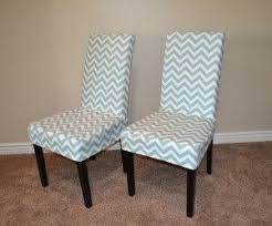 Slipcovered Parsons Dining Chairs Capital E Easy Parson Chair Slipcover Tutorial With Chevron Fabric