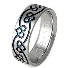 Titanium Wedding Rings by Irish Celtic Titanium Wedding Band U2013 Blue Chain Of Hearts Ring