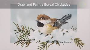 watercolor tutorial chickadee how to draw and paint a chickadee dry brush watercolour and ink