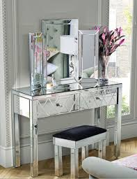 glass vanity table with mirror foxhunter mirrored furniture glass dressing table with drawer