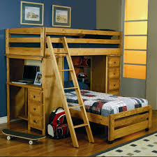 Elevated Bed Small Bedroom Varnished Wooden Loft Bed For Teenage Boy With Study Desk And