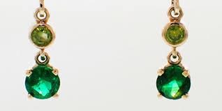 emerald green earrings 14 karat white gold emerald and green diamond dangle earrings