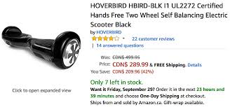 amazon ca black friday sale amazon canada deals save 42 on hoverbird hands free two wheel