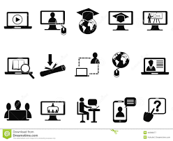 online class online class icons set stock vector illustration of graduation