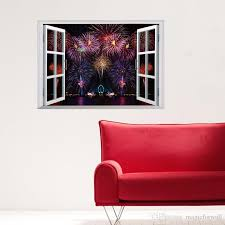 Poster Wallpaper For Bedrooms Firework Display Scenery Window View Wall Stickers Living Room