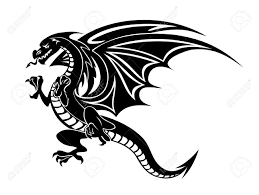 the symbolic dragon tattoos angry black dragon tattoo isolated on white background vector