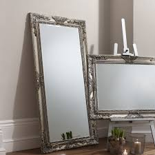 home interior mirrors furniture black leaner mirror with bookcase on wooden floor for
