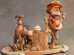 wood carving caricatures 3rd best of show shelton fowlerton in moonshine trio