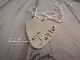 Engraved Guitar Pick Necklace Personalized Guitar Pick Custom Guitar Pick Necklace Sterling