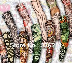 free shipping 100pcs nylon elastic fake temporary tattoo sleeve 3d