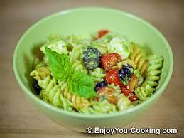 pasta salad pesto pesto pasta salad with tomatoes and mozzarella recipe my
