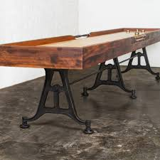 reclaimed wood game table artisan reclaimed wood shuffleboard table what s new furniture