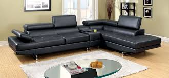kemi contemporary black bonded leather match sectional sofa chaise