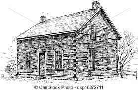 log cabin drawings log cabin pen and ink sketch of a typical settlers log clipart