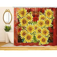 Colorful Fabric Shower Curtains Amazon Com Sunflower Shower Curtain Home U0026 Kitchen