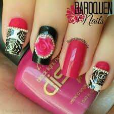 pink and black nail design baroquen nails