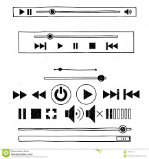 play doodle draw draw sketch doodle audio player for web stock vector image