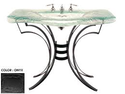Onyx Pedestal Sink Rg Large Melted Glass Basin With Wrought Iron Vanity Stand Onyx