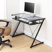 Z Shaped Desk Space Saver Computer Desk Black With Tempered Smoke