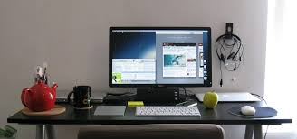 rectangle black imac computer desk on the floor of adorable look