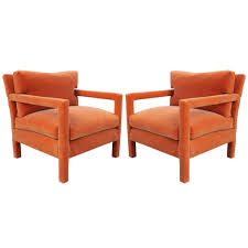 Milo Classic Leather Lounge Chair Fabulous Pair Of Milo Baughman Parsons Style Chairs In Orange