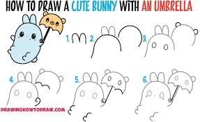 how to draw a cute kawaii bunny rabbit holding a bear umbrella