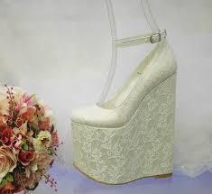 wedding wedges shoes white lace 20 cm high heel wedge shoes bridal wedding shoe tajna