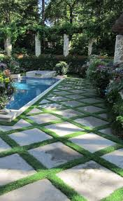 pavers with grass in between