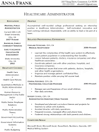 Healthcare Resumes Healthcare Administration Resume Templates Resume Templates 2017